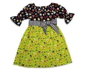 Girls Fall Dress Back To School Woodland Animals Black Gingham Sash Peasant Size 6-12 month, 18 month, 2 / 3, 4 / 5, 6 / 7, 8 / 9