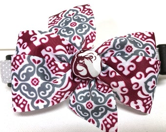 Dog Collar Adjustable Collar Bow Collar- The Mississippi State Inspired