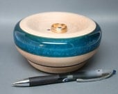 Artistic Handmade Wooden Ring Coin Dish made of Maple with and Exquisite Turquoise Pearl Resin Inlay – Wedding Gift, Collectible Art