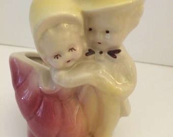 Shawnee Vase Boy and Girl Bride and Groom  Sweet