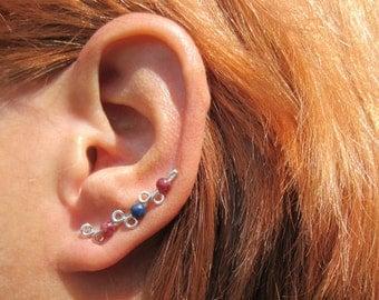 "Handcrafted ""Sprig"" Ear Climber Earring Sterling or Copper 1 Climber Garnet Lapis Lazuli"