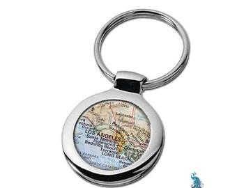 Map Keychain Los Angeles California Key Ring Fob