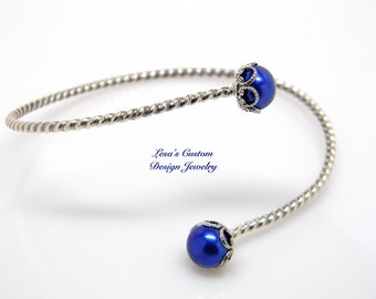 Blue pearl sterling silver adjustable bangle bracelet