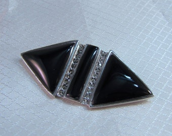 1980's Art Deco Sterling, Marcasite and Onyx Fashion Brooch