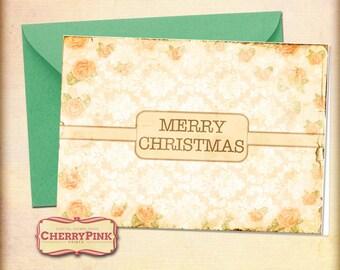 Printable Christmas Card, Floral damask Merry Chrismtas card, holiday printables
