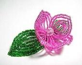 Pink Flower Floral Green Leaf Bloom French Beaded Fascinator - Sparkle Collection