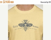 50% OFF God save the queen - Save the bees Save the world - mens t-shirt -yellow