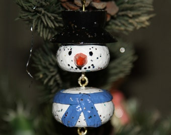 Christmas Ornament, Hand Carved Snow Man Ornament, Wooden Christmas Ornament
