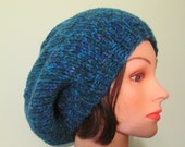 Large Hand Knit Slouchy Hat - Blue