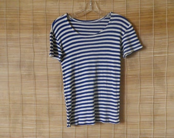 Vintage 1970's Original Navy Sailor Blue and White Stripes T-shirt Short Sleeves Size XS