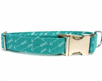 Dog Collar, ARROWS in Ocean BLUE, Handmade