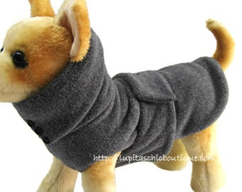 Dog Coat - CUSTOM MADE - Dog Coats For Winter- Fleece A Warm Coat to Keep Your Dog Warm - In Grey Heather