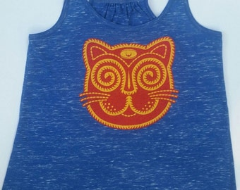 Kitty Cat ladies tank top - original art - cats, kittens, kitties, meow, ketamine, rave, party, third eye