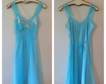 Valentine Sale Robbin's Egg Blue Sweet Feminine Flirty Nightgown