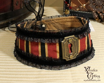 Steampunk Keyhole Choker -- Ready to Ship -- Black, Red, and Gold with Antique Brass