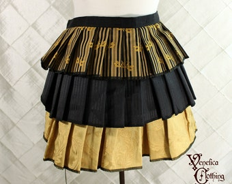 "Ruffle Bustle Overskirt - 3 Layer, Sz. S - Black & Gold with Dragonflies - Best Fits up to 42"" Waist/Upper Hip -- Ready to Ship"