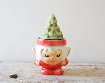 Christmas Gnome Candle Tree Candle Vintage Christmas Elf Hong Kong Elf Vintage Elf