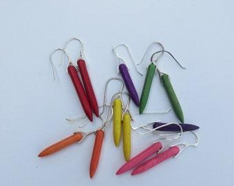 Silver Spike Earrings -Turquoise purple, red, orange, green, pink yellow long Boho Dangle Earrings - Silver and Turquoise gem Spike Earrings
