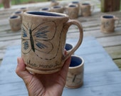 Four Butterfly Mugs, Reserve for Susan Binkley, Set of Four Mugs, Butterfly Mugs, Stoneware Mugs, Set of Mugs, Hand Lettered, Hand Drawn cup
