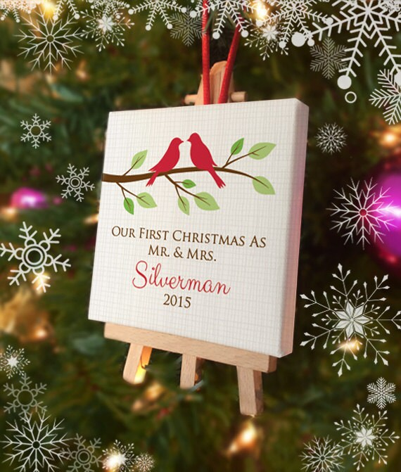 Our First Christmas as Mr and Mrs Ornament - Personalized Love Birds Mini Canvas with Easel - Newlywed Ornament - Just Married Custom Colors
