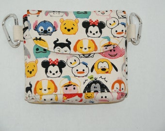 """2 Way Hip Bag / Fanny Pack With Belt Loop and Carabiners Made with Japanese Cotton Boatcloth Canvas """"Tsum Tsum - All Stars """""""