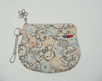 "Gathered Zipper Pouch / Card and Coin purse Made with Japanese Fabric ""Tsum Tsum - Cotton Linen #2"""