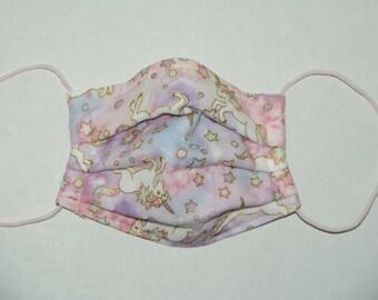 "Premade Pleated Double Gauze Facial Mask ""Unicorn - Pink / Lavender"" & Tio Tio Antibacterial Gauze"" Size S"