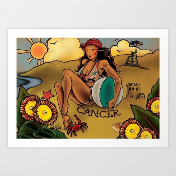 Horoscope Tattoo Cancer Print
