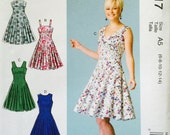 McCall's M7117 Misses' Dresses' Pattern, UNCUT,Size 6-8-10-12-14, Party Dress, Flared Dress, Fun