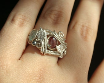 Cold Fire - red andezine statement ring size 7 fine silver intricate wire wrapped OOAK