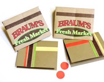 Paper Bag Stationery, Braums Fresh Market Envelopes n Note Cards, Original Upcycled Grocery Sack Greeting Card Set of 2 itsyourcountry