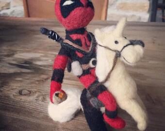 The DeadPool riding a unicorn wearing ass-less chaps holding a chimechanga -  AdoraWools original Ryan Reynolds doll