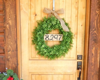 Year Round Wreath-BOXWOOD Wreath-Door Sign-House Number-Outdoor Wreath-Year Round Wreath-Home Decor-Artificial Wreath-Custom Made USA-Gifts