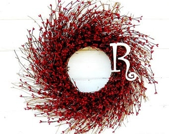 Monogram Wreath-Monogram Door Decor- Winter Door Wreath-Rustic RED Twig Wreath-Monogram Door Wreath-Home Decor-Custom Scented Wreaths-Gifts