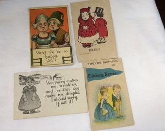 Set of Four Dutch Postcards 1900's