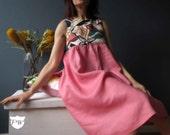 Pink Linen Smock Dress Empire Line, Handmade Design Small Medium