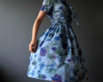 Vintage 50s 60s Stacey Ames Bluebonnet Blue Day Dress Floral Small