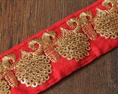 1 Yard Red Silk Fabric Sequins Embroidered Trim-Silk Sari Border-SequinsDesigns-Silk Fabric Trim