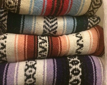 Vintage Blankets Mexican Falsa Throw Blanket Assorted Colors