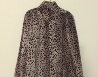90s Vintage Esprit Purple Black and White Leopard Print Faux Fur Coat Jacket Zipper Sleeves