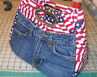 Blue Jean and American Flag Bag, Large Cutout Handle, Swoon Patterns, Modified Ethel Bag