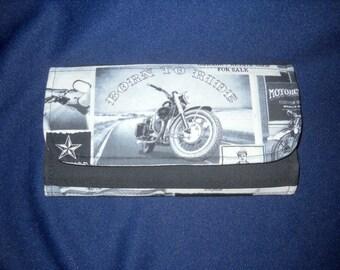 """Ladies Wallet,Billfold, Handmade, Timeless Treasures """"Vintage Motorcycle News"""" fabric."""
