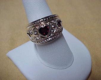 """Vintage Garnet 3 Hearts Ring, 1/2"""" Wide, Sterling Silver, 9.4 Gram, Size 9"""