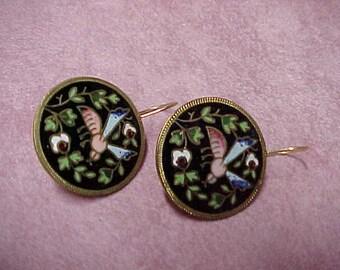 """Antique Victorian Enamel Earrings, 1"""" Diameter, 14K Yellow Gold Shepherd Ear Wires"""