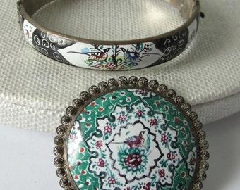 PERSIAN Hand Painted Enamel BROOCH Pin & BRACELET Vintage Silver