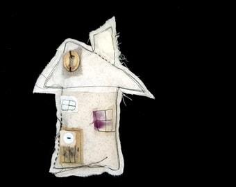 housewarming gift unique rustic pillow thread sketch fiber collage
