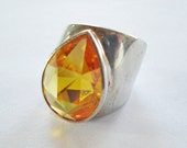 Sterling and Faceted Yellow Glass Statement Ring Modernist Design Vintage 80's Size 5