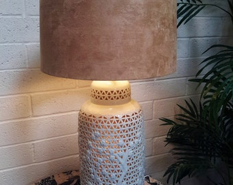 Blanc De Chine Lamp MID CENTURY LIGHTING Chinoiserie Chic Pierced Porcelain  1950's 3 Way Lighting Wood Base
