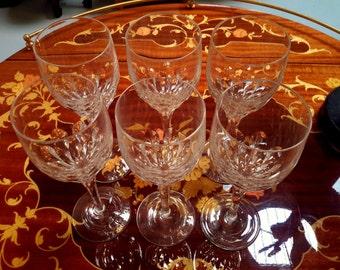 Gorham Crystal Wine Glasses Set of 6 Diamond Pattern Barware Drinkware