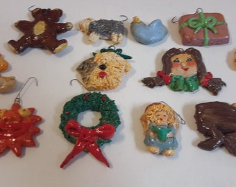 Vintage Christmas Ornaments Hand Crafted Set of 12 Teddy Bear, Girl, Candy Cane, Jesus in Manger, Wreath, Sun Face  1980s